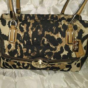 Coach Madison print Oscelot canvas satchel bag